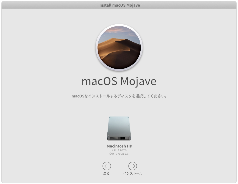 macOS Mojaveのインストール設定 ディスク選択